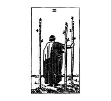 Black and White Three of Wands Tarot Card  Photographic Print