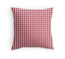 USA Flag Red and White Gingham Checked Throw Pillow