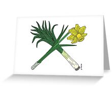 Leek and Daffodil Crossed Greeting Card