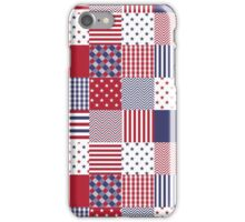 USA Americana Patchwork Red White & Blue Quilt iPhone Case/Skin