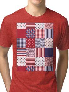 USA Americana Patchwork Red White & Blue Quilt Tri-blend T-Shirt