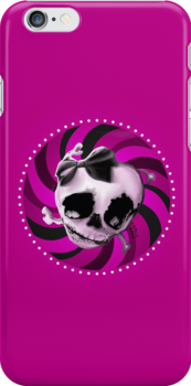 Girly Pink Skull with Black Bow by ROUBLE RUST