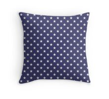 USA Flag White Stars on Flag Blue Throw Pillow