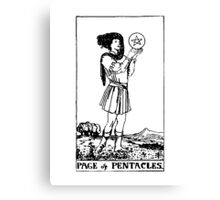Black and White Page of Pentacles Tarot Card Canvas Print