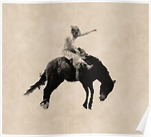 Bronco Busting Rodeo Cowboy Poster