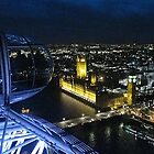 View of Westminster at night from the London Eye by Gillian  Ford