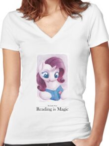Reading is Magic: Rarity Women's Fitted V-Neck T-Shirt