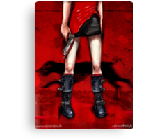 Red Dress & Zombie Dog Canvas Print