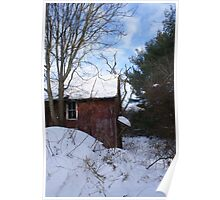 Snowy Red Barns Poster
