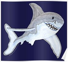 Great White Shark Fanciful Aquatic Watercolor Poster