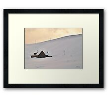 Lonely cabin in the snow Framed Print