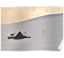 Lonely cabin in the snow Poster