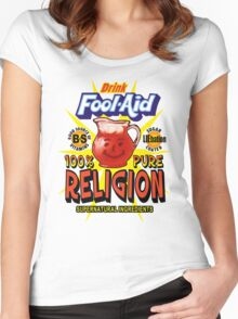 Fool-Aid: 100% Pure Religion (Light background) Women's Fitted Scoop T-Shirt