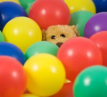 Ted overwhelmed in the ball pool - square by Sandra O'Connor