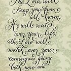 Comforting verse Psalm calligraphy art by Melissa Goza