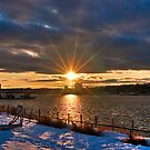 A Touch of Flare,  Sunset on the Hudson HDR by Dave Bledsoe