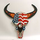 Patriotic Buffalo Skull by dussault101