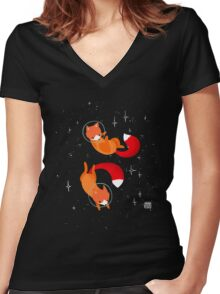 Space Foxes Women's Fitted V-Neck T-Shirt