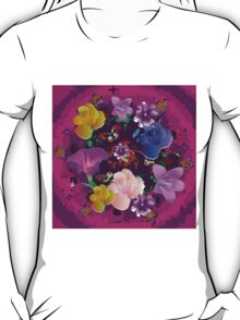 Vibrant Pink Abstract Floral T-Shirt