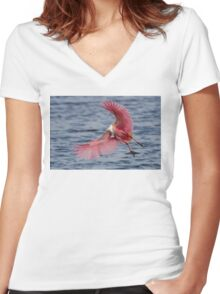 Spoonbill in Flight Women's Fitted V-Neck T-Shirt