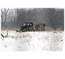 Old Truck Abandoned in the Snow Poster