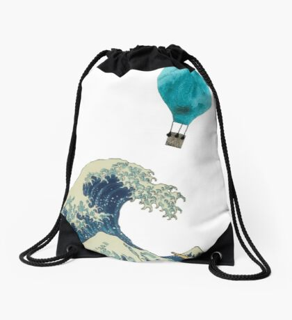 The Wave and the Hot Air Balloon  Drawstring Bag