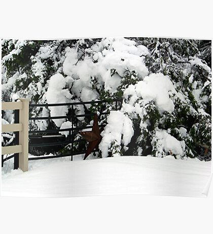Rustic Snow Scene Poster