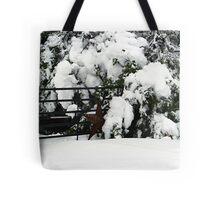 Rustic Snow Scene Tote Bag