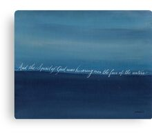 Genesis 1:2 handwritten with blue acrylic painting Canvas Print