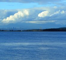 Crescent beach in White Rock, BC. Landscape photography of sea, blue sky and white clouds. Sticker