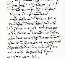 Handwritten Psalm 139 Fearfully wonderfully made by Melissa Goza