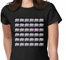 Grey Elephants with One Pink One Womens Fitted T-Shirt