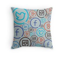 Social Media Crazy Throw Pillow
