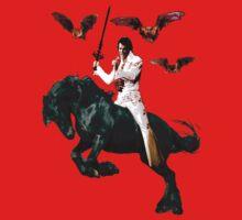 Heavy Metal Elvis Summons the Bats Kids Tee