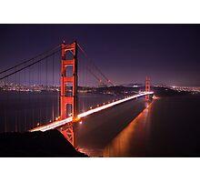 Golden Gate Bridge at Night Photographic Print