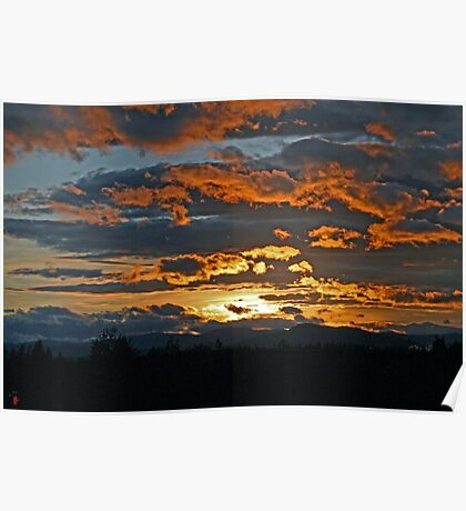 Sunset near Glacier Nat'l Park in Montana Poster