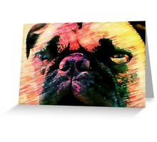 Grumpy Pink Pug Face Greeting Card