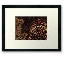 GOLD, ORANGE, brown, FRACTALS, gifts and decor Framed Print