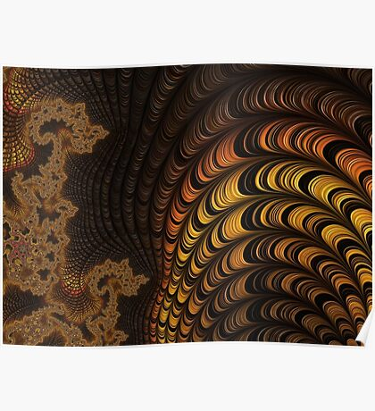 GOLD, ORANGE, brown, FRACTALS, gifts and decor Poster