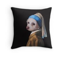 The Dog with the Pearl Earring (silhouette) Throw Pillow
