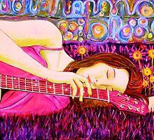 "Guitar Girl in a Pink Landscape  by Belinda ""BillyLee"" NYE (Printmaker)"