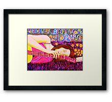 Guitar Girl in a Pink Landscape  Framed Print