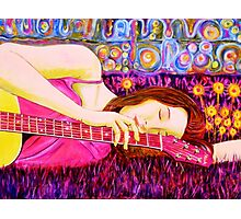 Guitar Girl in a Pink Landscape  Photographic Print