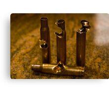 .30 Caliber shells, hit by .30 Caliber Bullets Canvas Print
