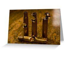 .30 Caliber shells, hit by .30 Caliber Bullets Greeting Card