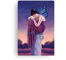 Sunset Blue Monarch Butterfly Fairy Canvas Print