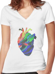 Glitch Heart Women's Fitted V-Neck T-Shirt