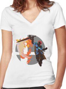 Roy (Smash 4, Blue) - Sunset Shores Women's Fitted V-Neck T-Shirt