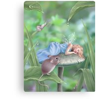 Sweet Dreams Sleeping Fairy & Mouse Canvas Print