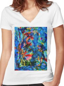 Cool Blue Women's Fitted V-Neck T-Shirt
